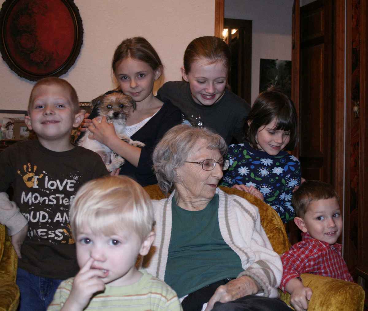 When it came time to try and get them all wrangled in for a group photo with Great Grandma, Hunter wasn't really in the mood anymore.  But he did stay there long enough to capture this, which he will be teased about the rest of his life I'm sure. I know this because as I was taking pictures, my Mom recounted a story about how I was always the one crying in the group shots when we were little.  Thanks Mom!