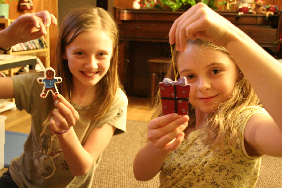 We also painted some small ceramic ornaments, the girls are each holding ones they did...
