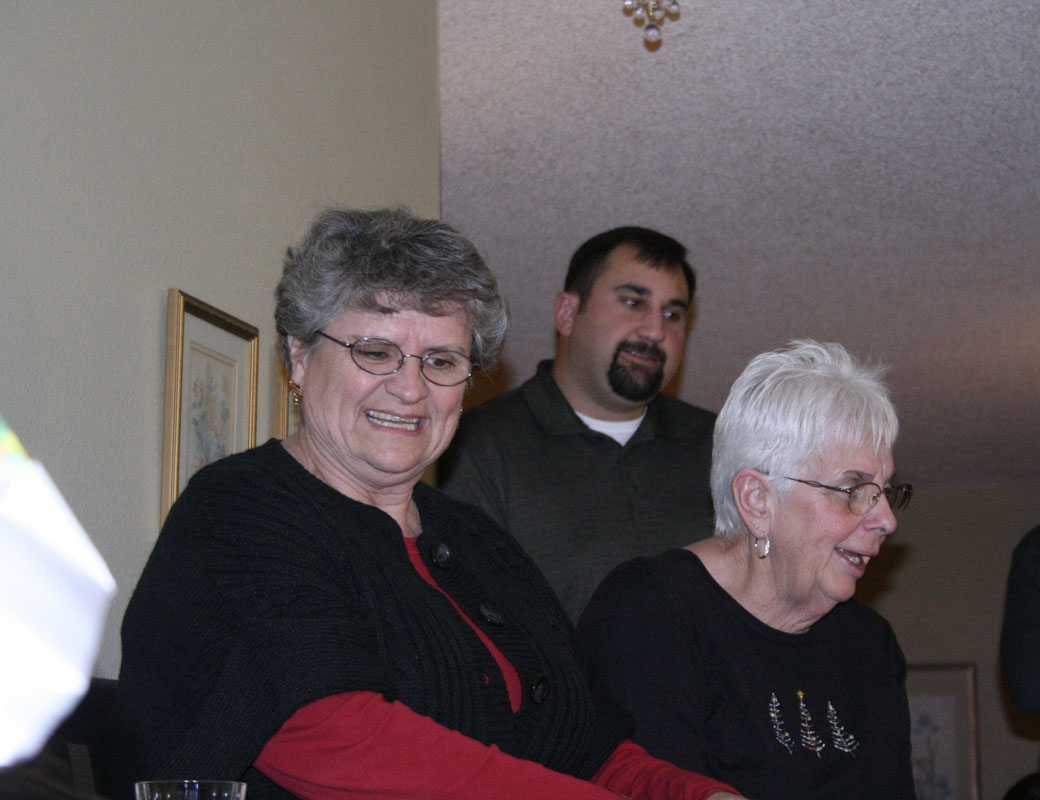 Mom Betty and Aunt Judy (the hostess with the mostest) and that's Molly's beau Joel in the background