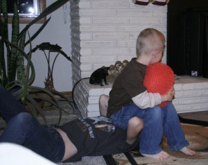 Claire taking more boy-cousin-abuse, which she is used to since she has a total of 7 of them, with one more on the way!