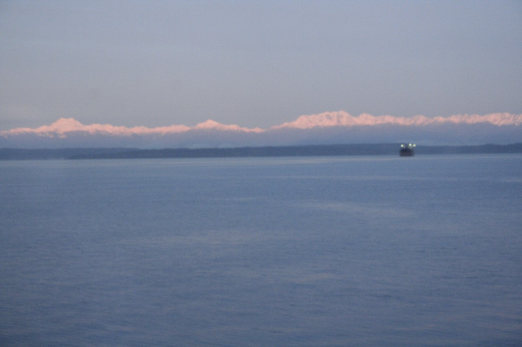 sunrise on the Olympic mountains