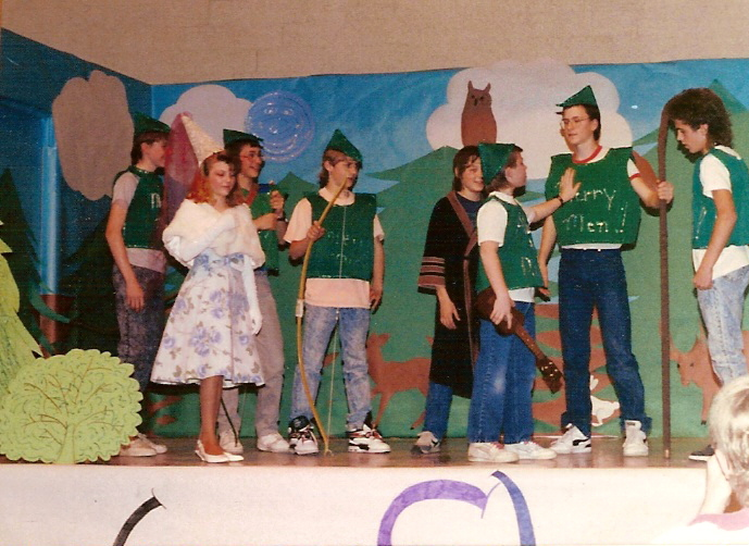 Robin Hood play: (from left to right) Earl, Me, Benji, Roger, Jason (wearing a bathrobe??) Alan, Hud and Danny.  Yes, THE Danny.