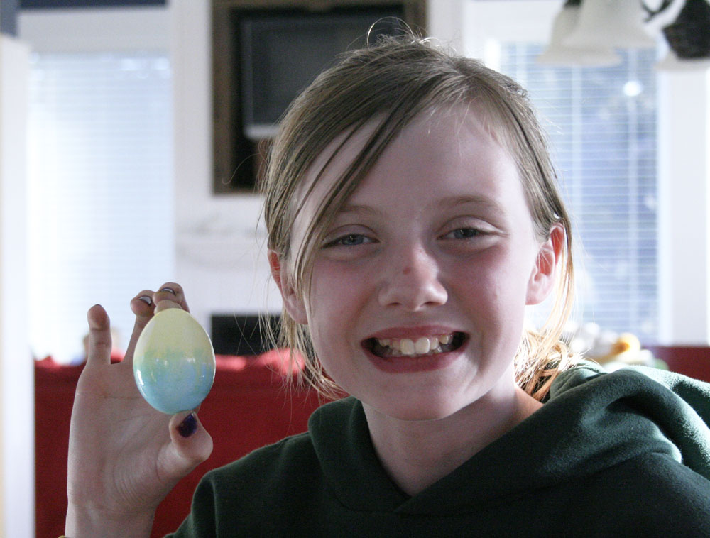 my easter egg-holding daughter, Claire (we did some easter stuff too, since we didn't gather this year on the actual holiday)