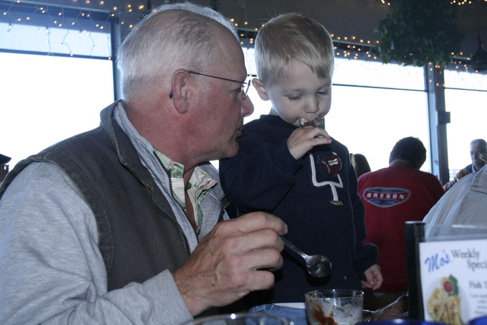 Hunter got to help Papa with his birthday ice cream!