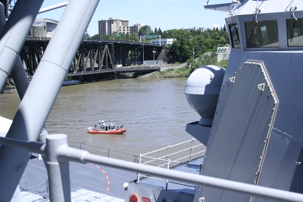 The coast guard were patrolling the river...keeping everyone safe..