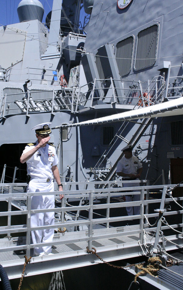 We had to take a pause in our tour to allow this high ranking Officer to cross from our ship to another...