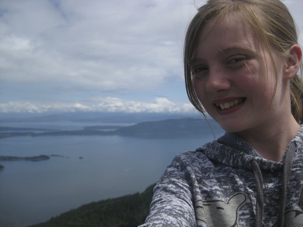Claire on Mt. Constitution, at the top of the tower!